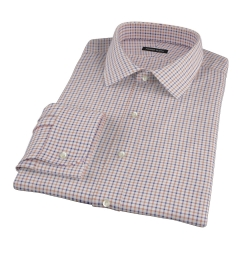 Canclini Brown Blue Tattersall Flannel Fitted Dress Shirt
