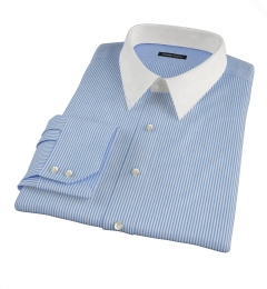 Thomas Mason 120s Blue Stripe Custom Dress Shirt