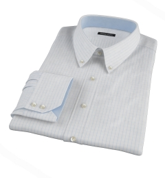 Canclini 120s Sky Blue Large Grid Dress Shirt