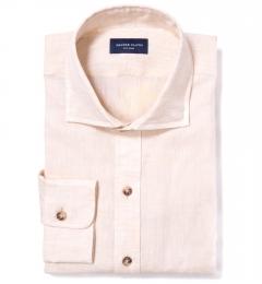 Canclini Tan Linen Custom Dress Shirt