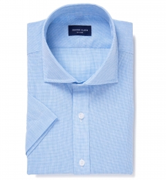 Light Blue Cotton Linen Houndstooth Dress Shirt