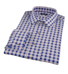 Brown Blue Tacoma Check Flannel Custom Dress Shirt