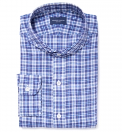Canclini Navy Blue Plaid Linen Men's Dress Shirt