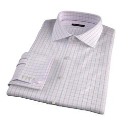 Verona Coral 100s Border Grid Men's Dress Shirt