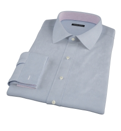 Light Blue Wrinkle Resistant Rich Herringbone Fitted Shirt