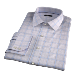Canclini 120s Beige Prince of Wales Check Fitted Shirt