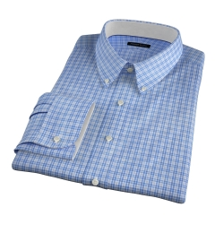 Rye 120s Light Blue Multi Check Fitted Shirt