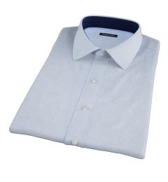 Light Blue Cotton Linen Houndstooth Short Sleeve Shirt
