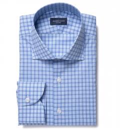 Jones Light Blue and Aqua Check Fitted Dress Shirt
