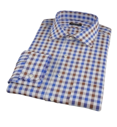 Blue and Brown Large Gingham Fitted Dress Shirt