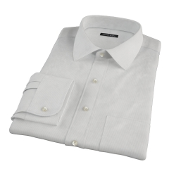 100s Pale Grey Stripe Fitted Dress Shirt