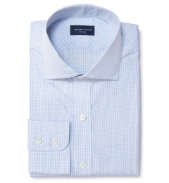 Thomas Mason Light Blue Small Grid Fitted Dress Shirt