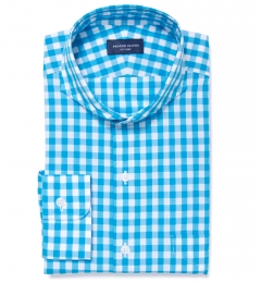 Aqua Large Gingham Custom Dress Shirt