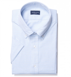 Light Blue Horizontal Stipe Heavy Oxford Tailor Made Shirt