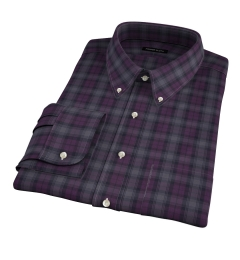 Canclini Plum and Grey Tonal Plaid Fitted Shirt
