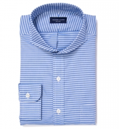 Thomas Mason Blue Horizontal Stripe Tailor Made Shirt