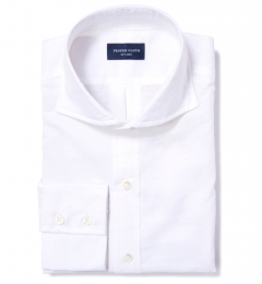 White Fine Cotton Linen Men's Dress Shirt
