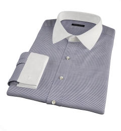 Carmine Black Horizontal Stripe Fitted Dress Shirt