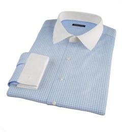 Blue Cotton Linen Gingham Fitted Dress Shirt