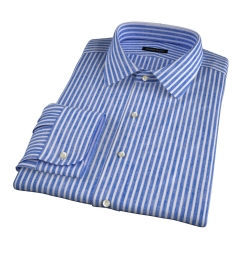 Blue Cotton Linen Stripe Fitted Dress Shirt