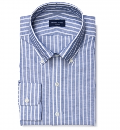 Marine Blue Cotton Linen Stripe Tailor Made Shirt
