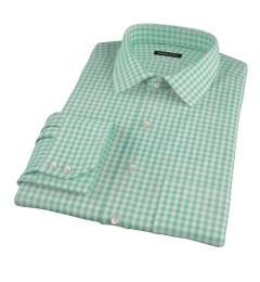 Medium Light Green Gingham Custom Made Shirt