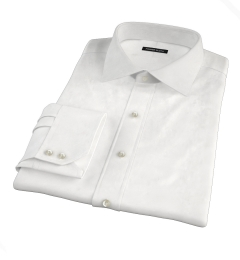 Thomas Mason White Wrinkle-Resistant Twill Fitted Shirt