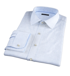 140s Light Blue Wrinkle-Resistant Bengal Stripe Custom Dress Shirt