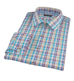 Aqua Brown Cotton Linen Check Custom Dress Shirt
