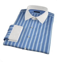 Albini Blue and White Summer Stripe Tailor Made Shirt