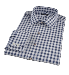 Navy Blue Large Gingham Men's Dress Shirt
