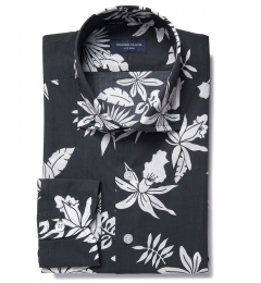 Positano Black Floral Print Custom Made Shirt