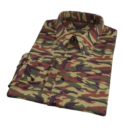 Fatigue Camouflage Print Fitted Dress Shirt