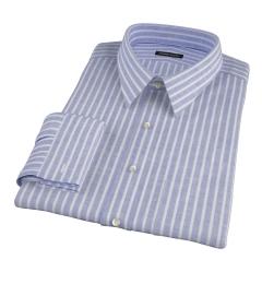 Marine Blue Cotton Linen Stripe Fitted Shirt