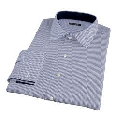 Canclini Navy 120s Mini Gingham Custom Dress Shirt