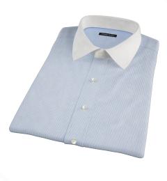 Thomas Mason Blue End on End Stripe Short Sleeve Shirt