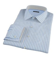 Light Blue Cotton Linen Stripe Fitted Shirt