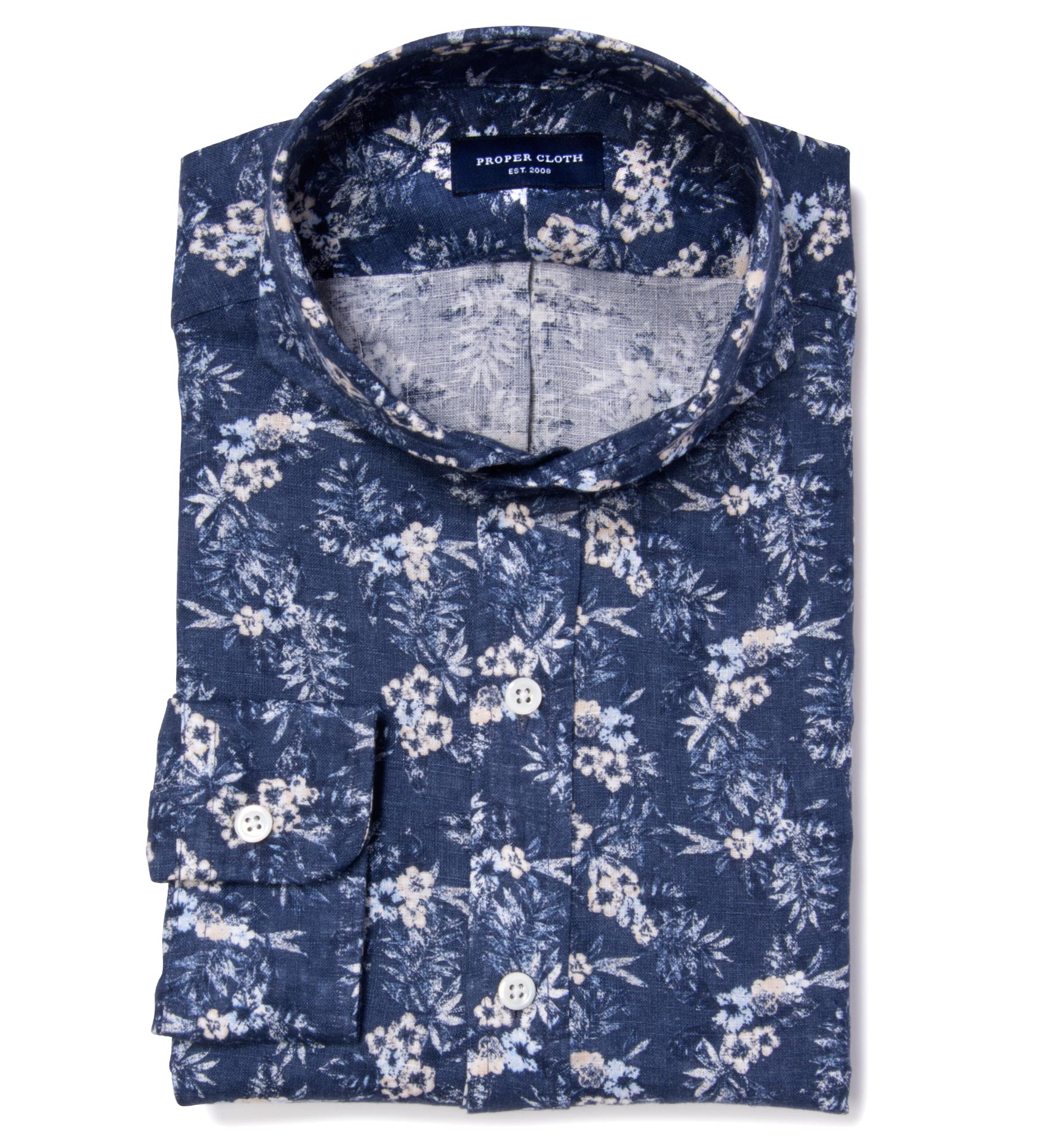 Very Goods Albini Blue Floral Printed Linen Custom Dress Shirt By
