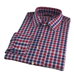 Vincent Crimson and Navy Plaid Dress Shirt