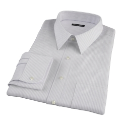 Canclini Tan Gassato Stripe Fitted Dress Shirt