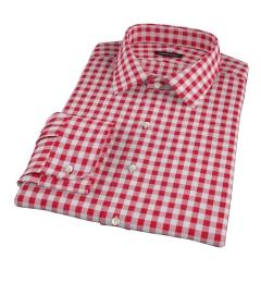 Red Large Gingham Men's Dress Shirt