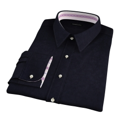Black Heavy Oxford Fitted Dress Shirt