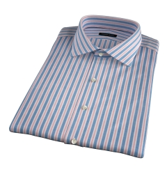 Albini Blue and Red Summer Stripe Short Sleeve Shirt