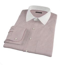 Canclini Brown 120s Mini Gingham Dress Shirt