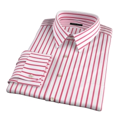Canclini Red Wide Stripe Fitted Shirt