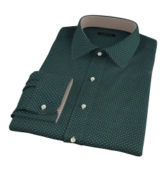 White on Green Printed Pindot Fitted Shirt
