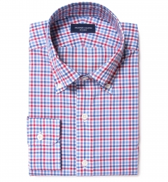 Thomas Mason Red Blue Multi Check Custom Made Shirt