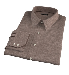 Canclini Brown Linen Men's Dress Shirt