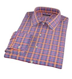 Yellow Blue Lewis Plaid Flannel Men's Dress Shirt