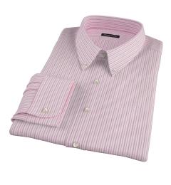 Canclini Red Cotton Linen Stripe Custom Dress Shirt